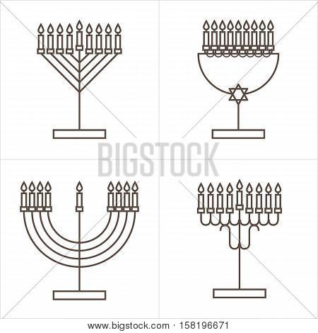 Four candlesticks with nine candles. Candlestick with candles for Hanukkah. Vector illustration.