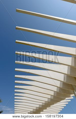 MALAGA SPAIN - SEPTEMBER 3: Beautiful architectural structure at Port of Malaga Spain against blue sky
