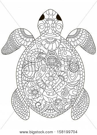 sea turtle coloring book for adults vector illustration. Anti-stress coloring for adult. Zentangle style. Black and white lines. Lace pattern animal