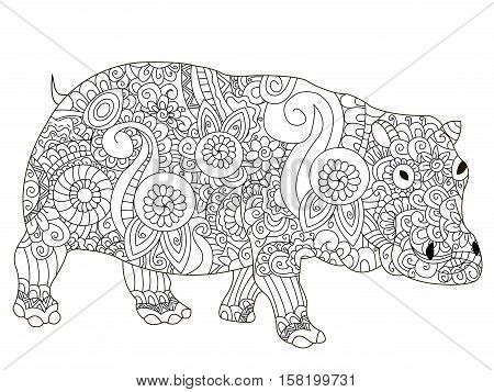 Hippopotamus animal coloring book for adults vector illustration. Anti-stress coloring for adult. Zentangle style. Black and white lines. Lace pattern hippo