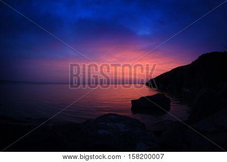 landscape at sunset/sunrise by the lake