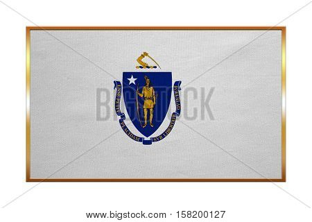 Flag of the US state of Massachusetts. American patriotic element. USA banner. United States of America symbol. Massachusettsan official flag golden frame textured illustration. Accurate size colors