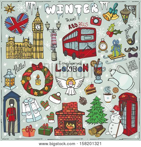 Winter Vector.London landmark, symbols.Hand drawn doodle sketchy.Big Ben, red bus, British sign, christmas symbols, new year elements, snowflakes. England vintage icons and background