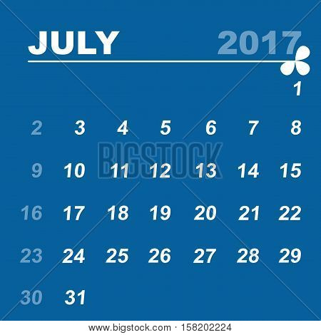 Simple calendar template of july 2017 stock vector
