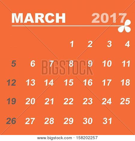 Simple calendar template of march 2017 stock vector