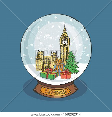 Merry Christmas snow globe with London.Doodle Big Ben, fir tree, gifts  under the snow.Hand drawing New Year present. Vintage simple vector, new year glass ball
