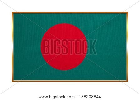 Bangladeshi national official flag. Patriotic symbol banner element background. Correct colors. Flag of Bangladesh with golden frame fabric texture illustration. Accurate size color
