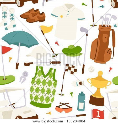 Seamless cartoon golf game pattern bag golf icons hobby car equipment. Golf seamless pattern vector texture ball illustration. Golf seamless pattern sport design game decoration.