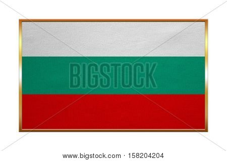 Bulgarian national official flag. Patriotic symbol banner element background. Correct colors. Flag of Bulgaria with golden frame fabric texture illustration. Accurate size color