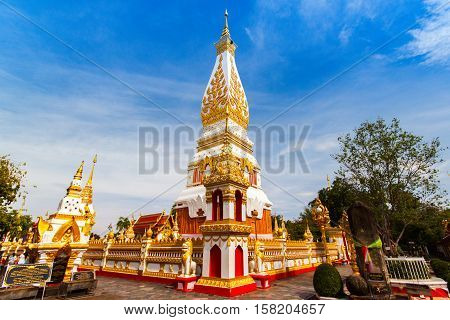 Phra That Renu Nakhon temple Image of Buddha at Wat Phra That Phanom Nakhon Phanom Province northeastern Thailand