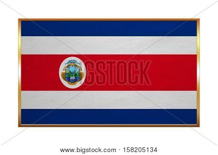 Costa Rican national official flag. Patriotic symbol banner element background. Correct colors. Flag of Costa Rica with golden frame fabric texture illustration. Accurate size color