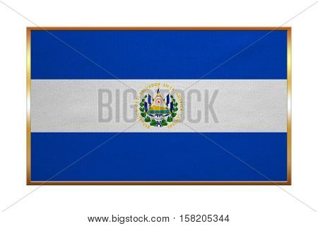Salvadoran national official flag. Patriotic symbol banner element background. Correct colors. Flag of El Salvador with golden frame fabric texture illustration. Accurate size color