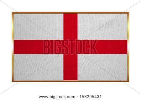 English national official flag. Patriotic symbol banner element background. Correct colors. Flag of England with golden frame fabric texture illustration. Accurate size color
