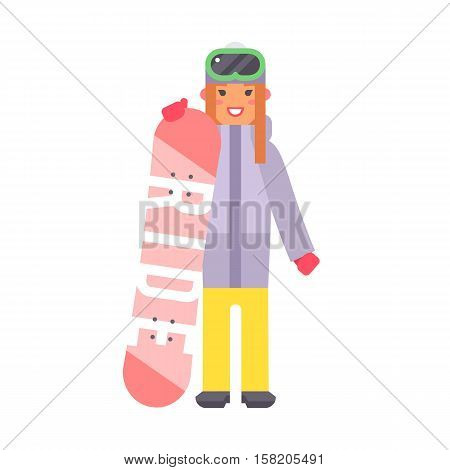 Skiing woman christmas winter vacation. Happy travel snowboard girl. Active sport people on winter vacation character flat vector illustration. Ski tourism holiday character.