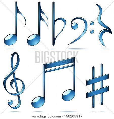 Music notation blue glass symbols set isolated on white background. Musical notes vector collection.