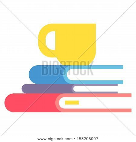 Big stack of books education literature school vector illustration. Library pile paper wisdom information and university textbook. Knowledge bookstore learning.