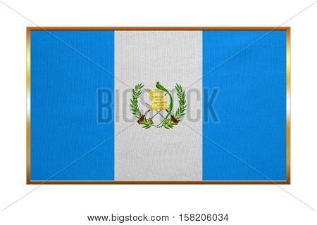 Guatemalan national official flag. Patriotic symbol banner element background. Correct colors. Flag of Guatemala with golden frame fabric texture illustration. Accurate size color
