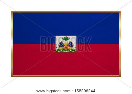 Haitian national official flag. Patriotic symbol banner element background. Correct colors. Flag of Haiti with golden frame fabric texture illustration. Accurate size color