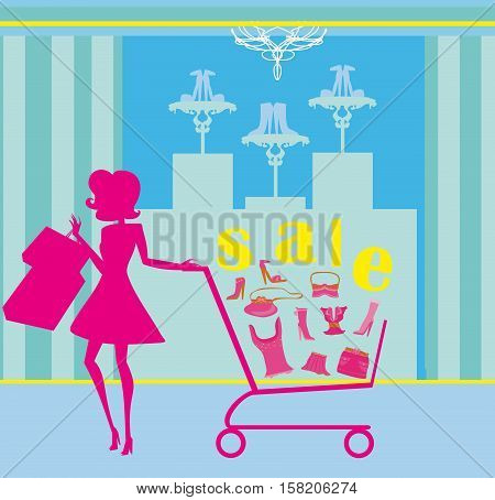 Woman silhouette pushing shopping cart , vector illustration