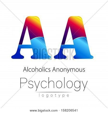 Modern logo of Psychology. Creative style. Logotype in vector. Design concept. Brand company. Blue and red color letter A on white background. Symbol alcoholics anonymous. Card, flyer, web