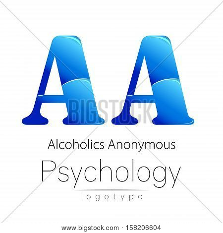 Modern logo of Psychology. Creative style. Logotype in vector. Design concept. Brand company. Blue color letter A on white background. Symbol alcoholics anonymous. Card, flyer, web