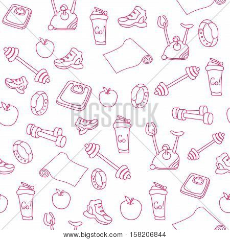 Hand drawn pink fitness equipment doodles. Gym seamless pattern. An apple, a sneaker, a sport watch, dumbbells, mats, scales, a barbell, a cycle and a shaker. Vector EPS10 illustration.