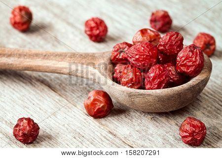 Dry rowan berries on the wooden spoon