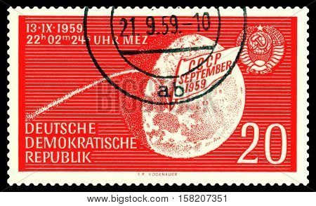 STAVROPOL RUSSIA - November 24 2016: a stamp printed by GDR shows Moon 2 the first successful flight to the moon 13.09.1959 circa 1959