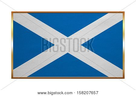 Scottish national official flag. Patriotic symbol banner element background. Correct colors. Flag of Scotland with golden frame fabric texture illustration. Accurate size color