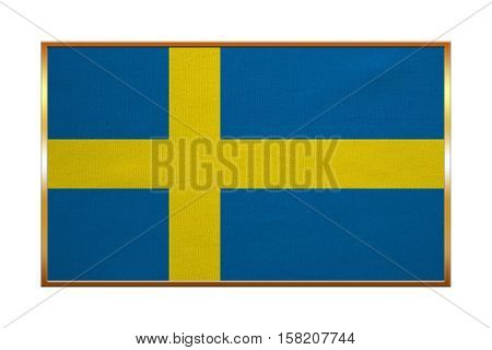 Swedish national official flag. Patriotic symbol banner element background. Correct colors. Flag of Sweden with golden frame fabric texture illustration. Accurate size color