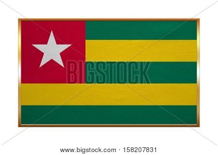 Togolese national official flag. African patriotic symbol banner element background. Correct colors. Flag of Togo with golden frame fabric texture illustration. Accurate size color