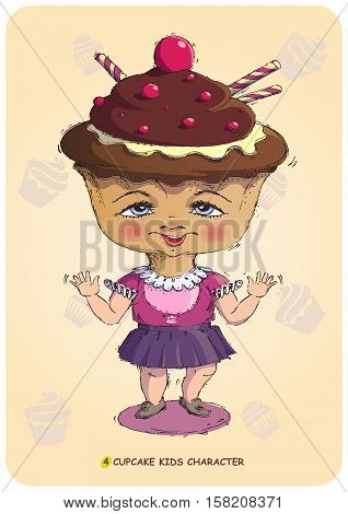 Funny illustration of a hand drawn cartoon character kid stylized sweet cupcake. Emotional states sonfectionery caramel and bakery food