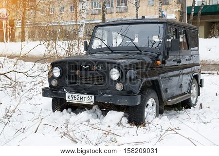 Smolensk, Russia - November 13, 2016: UAZ Hunter legendary russian military off-road auto parked in the streets of Smolensk.