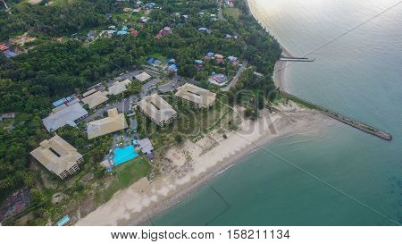 Aerial view of beautiful bay in tropical Island with very white sand in Manikar village at Labuan island,Malaysia.