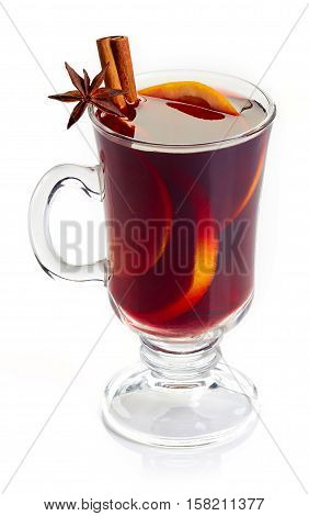 Red Mulled Wine Isolated On White