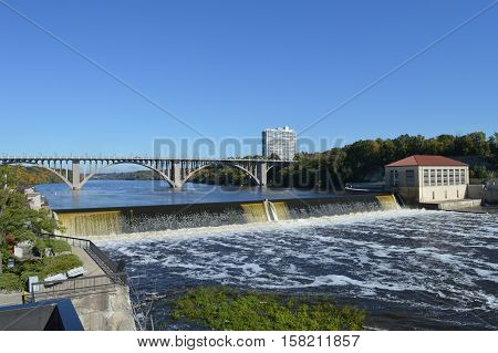 The Ford Dam and Ford Parkway Bridge in Minneapolis, Minnesota