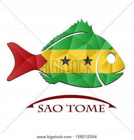 fish logo made from the flag of Sao Tome