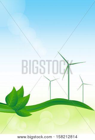 Wind generator green energy. Vector eco background.