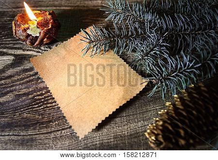 Christmas pattern. New year composition. Wishlist. Fir branches and cones.