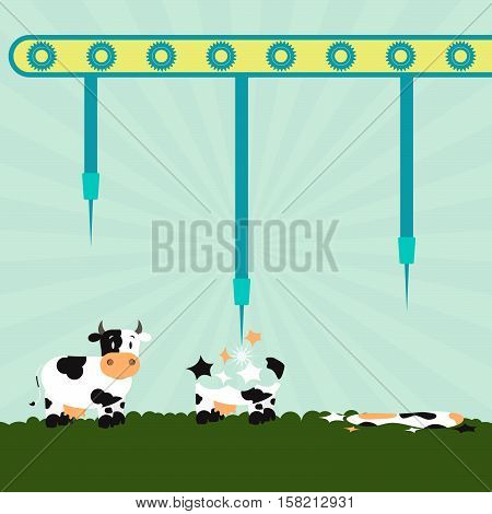 Machine with needles exploding cows in the field. Concept. Metaphorical.