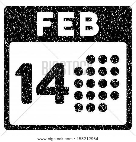 Romantic Valentine Day grainy textured icon for overlay watermark stamps. Flat symbol with dirty texture. Dotted vector black ink rubber seal stamp with grunge design on a white background.