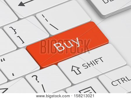 A 3D illustration of the word Buy written on a red key from the keyboard
