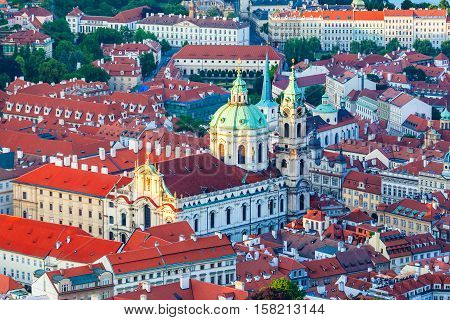 Church of St. Mikulasha from the Petrin tower. Old Town architecture, Czech Republic. Aerial view. St Nicholas Bell Tower
