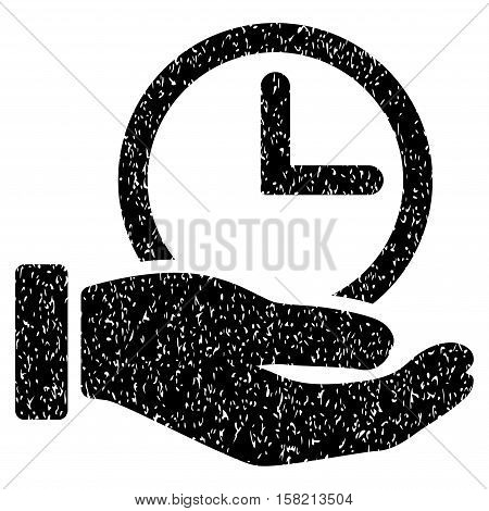 Time Service Hand grainy textured icon for overlay watermark stamps. Flat symbol with dirty texture. Dotted vector black ink rubber seal stamp with grunge design on a white background.