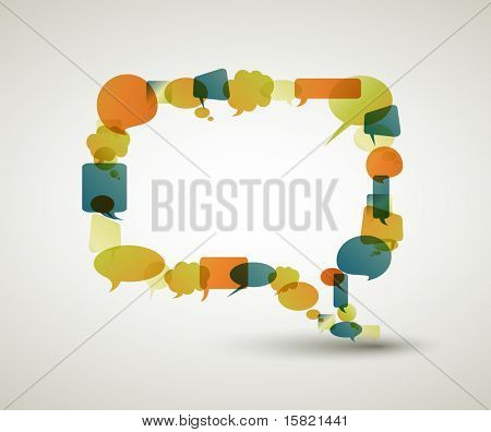 Big empty speech bubble made from colorful small bubbles