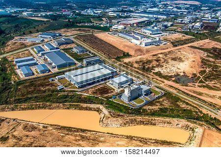 Industrial estate land development  landscape aerial view