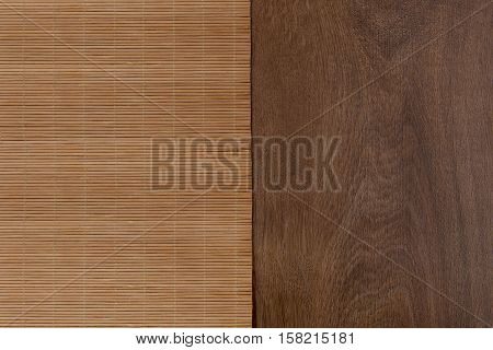 Bamboo mat on wooden table. Top view. Bamboo and wood texture background.