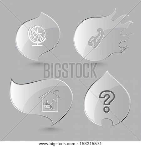 4 images: globe and clock, french curve, home reading, query sign. Education set. Glass buttons on gray background. Fire theme. Vector icons.