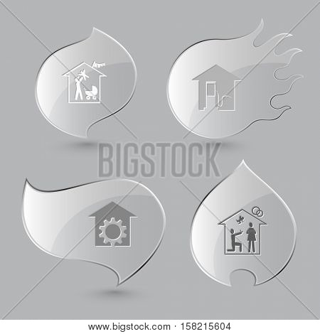4 images: family home, car fueling, repair shop,  affiance. Home set. Glass buttons on gray background. Fire theme. Vector icons.