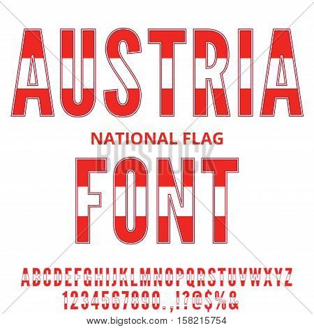 Austria National Flag flat stylized Font. Alphabet and Numbers in Vector Set